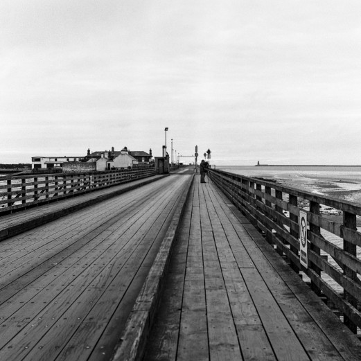 Wooden bridge at dawn, Bull Island. Zenza Bronica SQ-A